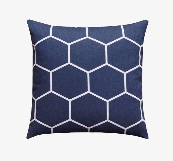 Blue White Modern HexagonPillow Case
