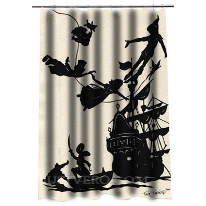 Peter Pan Flying Silhouette Shower Curtain