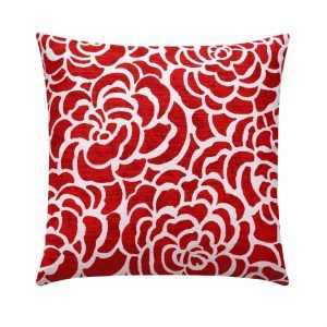 Red Floral Accent Pillow Case