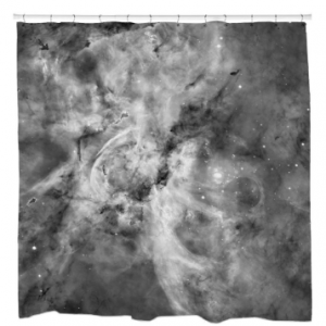 Black and White Carina Nebula Shower Curtain