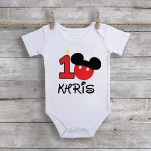 Custom Mickey Mouse Birthday Baby Onesie