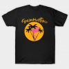 Summertime Flamingo with Palms and Sunset Tee Shirt