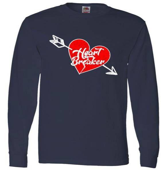 Heart Breaker Valentine's Day Broken Heart Arrow Long Sleeve Tee Shirt