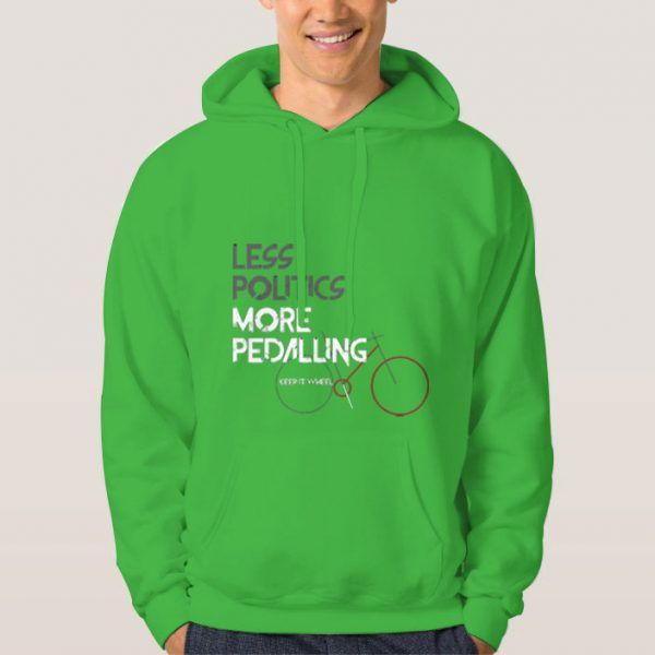 Less-Politics-More-Pedalling-Green-Hoodie