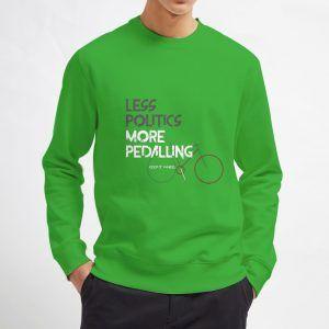Less-Politics-More-Pedalling-Green-Sweatshirt