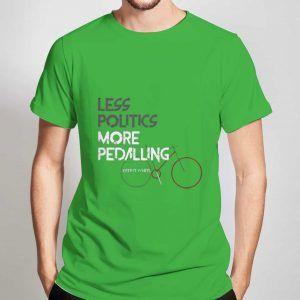 Less-Politics-More-Pedalling-Green-T-Shirt