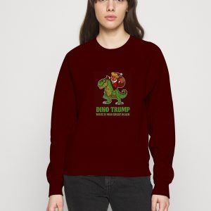 Dino-Trump-Christmast-Red-Maroon-Sweatshirt
