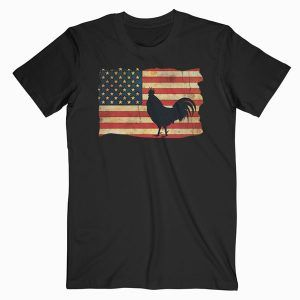 Vintage US Flag Cock Fight T Shirt